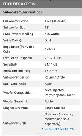Photo Subwoofer Speakers (2) TW3 ( JL) Audio - $750 (UPPER MARLBORO)