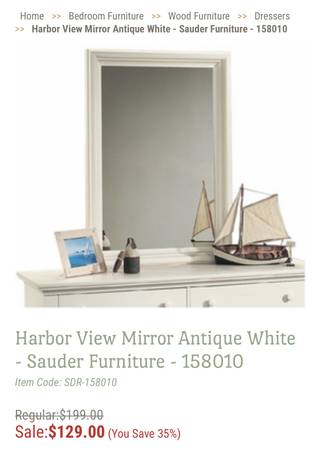 New Harbor View Mirror Antique White - Sauder Furniture - $89 (Mason City)