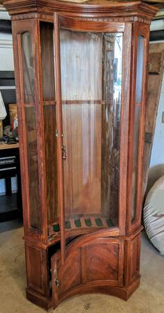 Photo Gun cabinet with curved glass door - $650 (Jamestown PA)