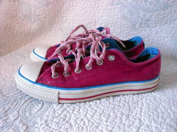 Photo Converse All Star Sneakers Pink wBlue Detail Women39s sz 8 Clean XLNT - $10 (Talent)