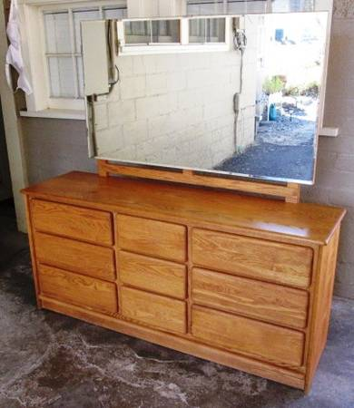 Photo SOLID OAK DRESSER WMIRROR-reduced - $200 (S MEDFORD)