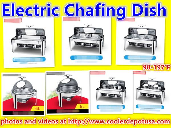 Photo Catering Stainless Steel Chafer Chafing Dish Full Size Buffet Electric - $190 (100 new)