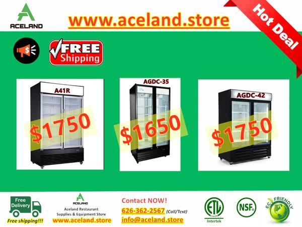 Photo Restaurant Equipment Commercial NSF 2 Glass-door Refrigerators F - $1,650 (Free Shipping 100 New)