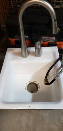 Photo Cast Iron Bar Sink and Brushed Stainless Faucet - $45 (Roseville)