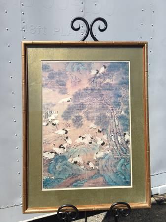 Photo Large Silk Painting Print Cranes Over Asian Mountainous Landscape - $220 (Sacramento)