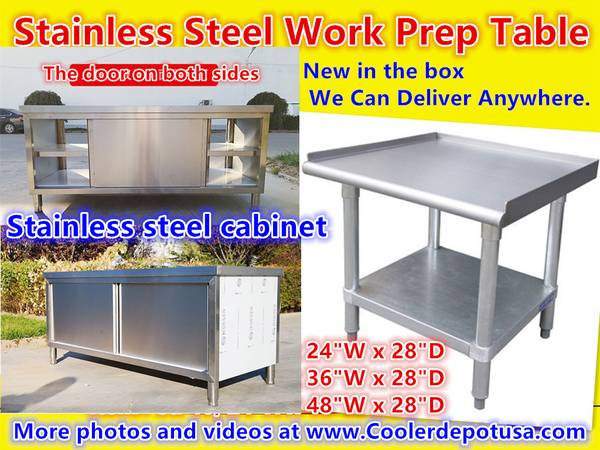 Photo 486072 Stainless Steel Preparation CABINETPREP TABLES - $90 (100 new)