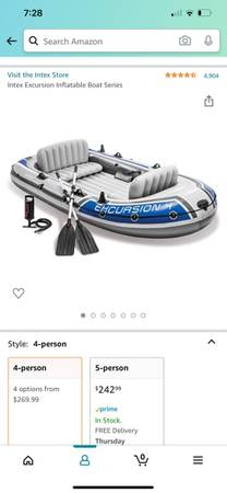 Photo excursion 4 intex inflatable boat - used twice - $75 (Goshen)