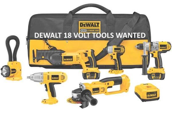 Photo WANTED 18 Volt Dewalt Tools (MS Coast)