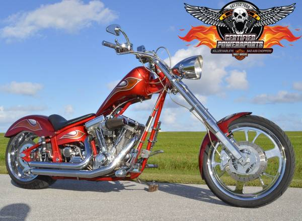 Photo 2003 VENGEANCE MOTORCYCLES WARRIOR SOFTAIL CHOPPER - $11,995 (Only 5,024 miles, 1 Owner special order with every option)