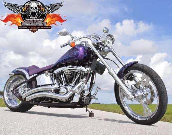 Photo 2005 THUNDER MOUNTAIN BLACKHAWK 240 SOFTAIL CHOPPER - $11,995 (Optional HD SCREAMIN EAGLE 103ci Motor WPB)