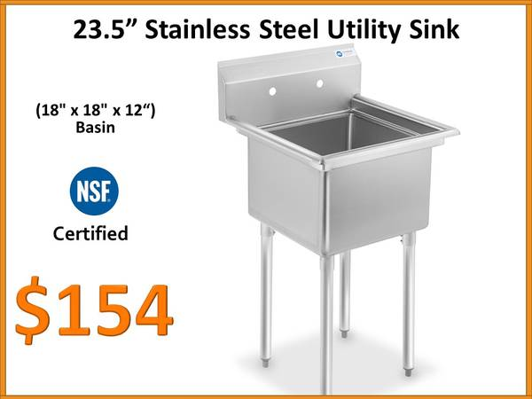 Photo 23.5 Inch Wide NSF Stainless Steel Prep and Utility Sink - $154 (Tamarac)