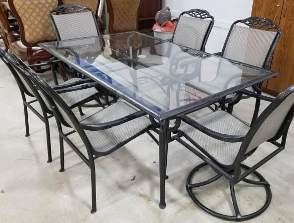 Photo 7 Piece Vintage SAMSONITE Outdoor Patio Dining Set Table 6 Armchairs - $995 (lake worth)