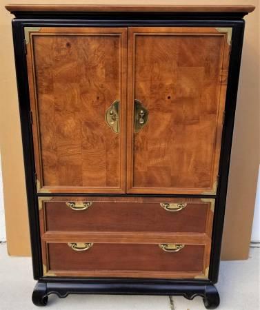 Photo BROYHILL PREMIER Asian Chinoiserie Highboy Armoire Dresser w Burl Wood - $695 (Lake Worth West Palm Beach)