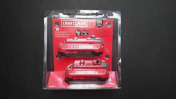 Photo CRAFTSMAN V20 20-Volt Max 2-Pack 2 Amp-Hour Lithium Power Tool Battery - $60 (Fort lauderdale)