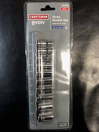 Photo Craftsman 10pc 14in Drive Socket Set Inch - $10 (SunriseHollywood)