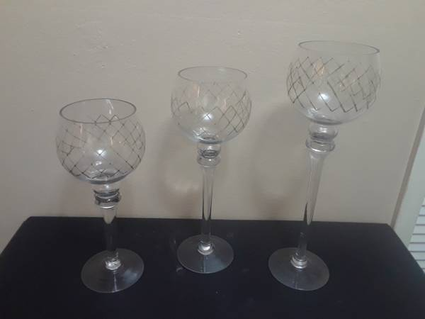 Photo Long Stem 3 Piece Glass Candle Holders - $20 (MIAMI)