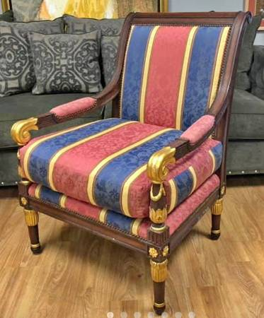 Photo MARGE CARSON Napoleon French Empire Style Bergere Open Arm Chair - $390 (Lake Worth West Palm Bch)