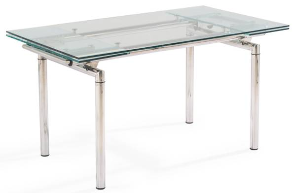 Photo Modern Glass and Stainless Steel Extendable Dining Table - $1,000 (Aventura)