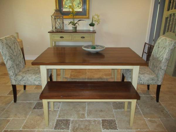 Photo Pier One Farmhose Style Solid Wood Dining Set - $650 (Lighthouse Point)