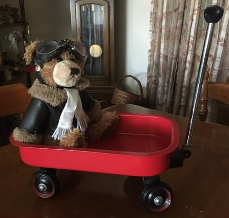 Photo Ralph, a Brass Button Bear and his Radio Flyer style little red wagon (Leisure City near Homestead Air Reserve Base)