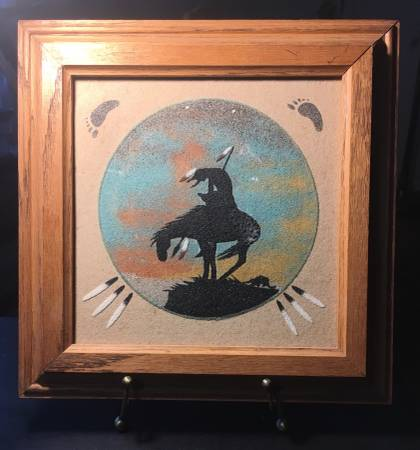 Photo Signed Native American Southwest Sand Art - End of the Trail - $20 (Leisure City near Homestead Air Reserve Base)