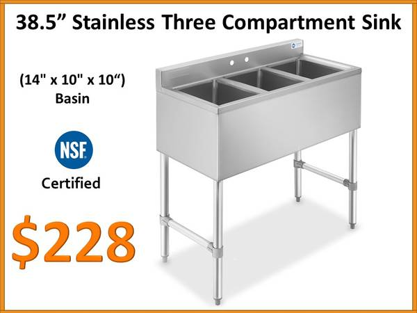 Photo Stainless Three Compartment Utility Sink - NSF - $228 (Fort Lauderdale)