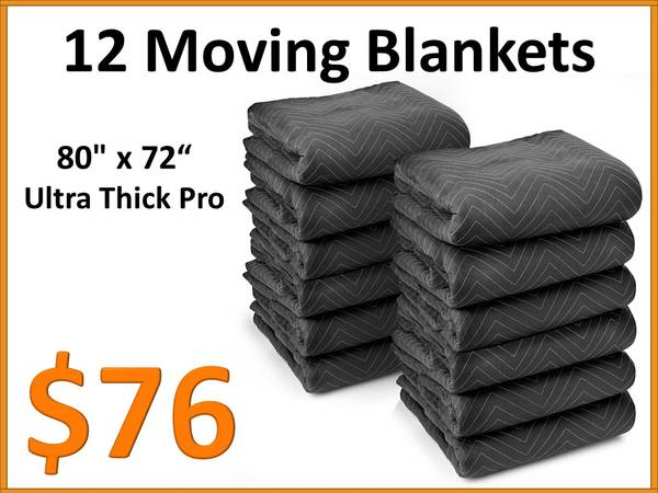 Photo Ultra-Thick Moving Furniture Blankets Pads 12 Pack - 65lbsdozen - $89 (Tamarac)