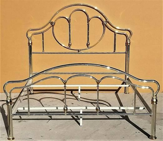 Photo Vtg Italian Art Nouveau Art Deco Brass  Chrome Queen Size Bed Frame - $1,395 (Lake Worth West Palm Beach)