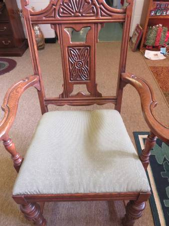Photo Antique Arm Chair Open Back Wood Carved Green Upholstered Seat - $99 (Milwaukee)
