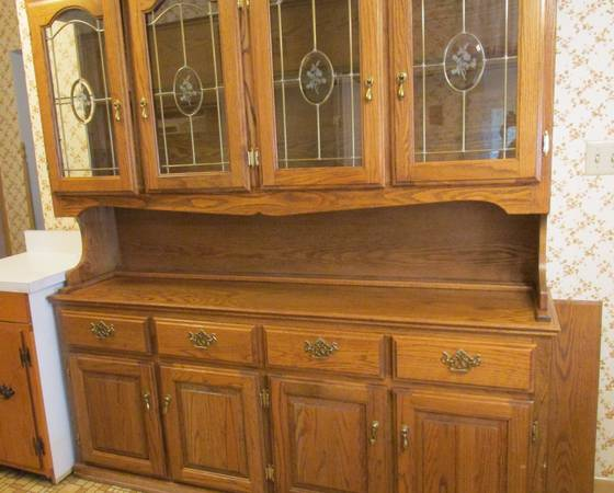 Photo Brunner Furniture Wood  Beveled Glass China Cabinet Hutch Buffet - $500 (Greenfield)