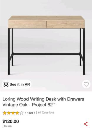 Photo Loring Wood Writing Desk with Drawers Vintage Oak - Project 62quot - $55 (Milwaukee)