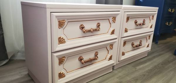 Photo Pink and rose gold nightstands - $325 (Milwaukee)
