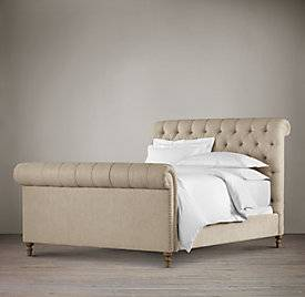 Photo Restoration Hardware Chesterfield Fabric Sleigh Bed wFootboard -Queen - $1475 (Delivery Possible)(Pewaukee, WI)