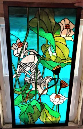 Photo Stained Glass Window Herons Egrets as is - $125 (Hartford)