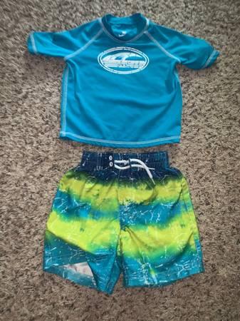 Photo 18 month toddler boys swim suit trunks rash guard - $5