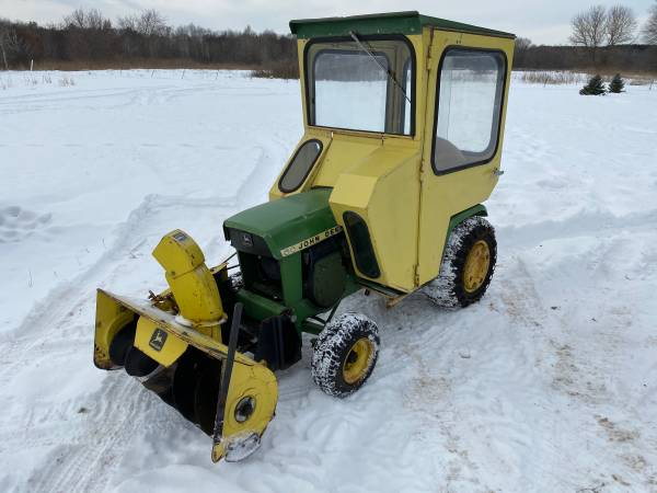 Photo 1972 John Deere 112 mower deck and snowblower, Cozy Cab - $1,600 (Stacy)