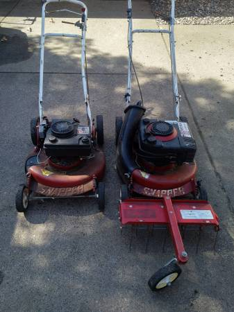 Photo 2 Snapper drive mowers w dethatcher.Need carb cleaning - $80 (Newport,Mn)