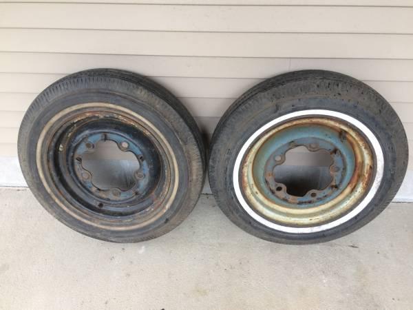 Photo 2 Vintage Original VW Volkswagen Bug Wheels  Tires Beetle Rims - $60 (North Branch)