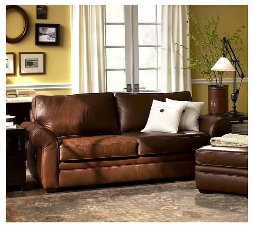 Pottery Barn Minnetonka Mn: 4PC Pottery Barn Style Leather Sofa/Love/Chair/Otto Pd