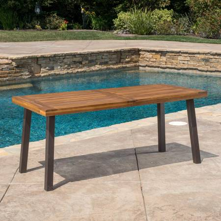 Photo DellaTeak Finish Rectangle Wood Outdoor Dining Table - $103.19
