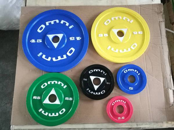 Photo Steel Olympic training plates 245 pounds weight set  Barbell - $360 (Chanhassen)