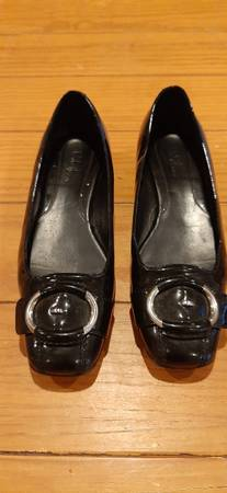 Photo Womens Shoes Flats Size 7M Cole Haan Nike Air Black Patent Leather - $10 (Independence)