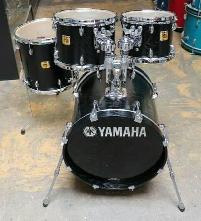 Photo Yamaha 4pc Oak Custom Drum Kit Shell Pack Matte Musashi Black MIJ - $1,800 (Minneapolis)