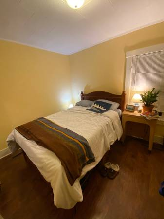 Photo Full size Captains bed with storage shelves, mattress and foam topper - $400