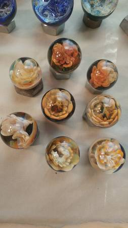 Photo Glass Flower Marbles - $35 (Missoula)