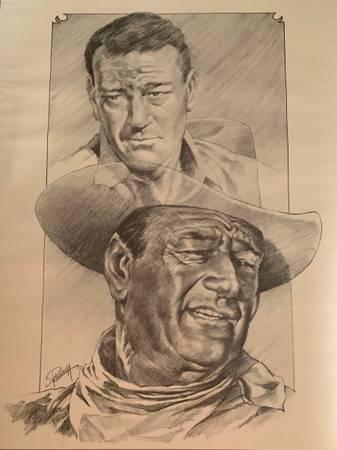 Photo John Wayne Western Lithograph Drawing Sketch poster by Petronella - $15 (Missoula)