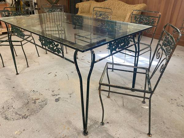 Photo 194039s Antique Wrought Iron Patio Set w Glass Top  6 Chairs - $600 (Mobile)