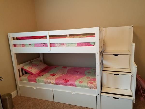 Photo Bunk Beds, twin white - $450 (Magnolia Grove)