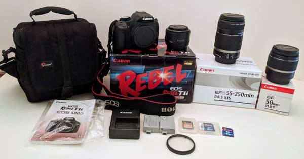Photo Canon EOS Rebel T1i 15.1 MP CMOS Digital SLR Camera  3 Lenses Extras - $400 (Fairhope)