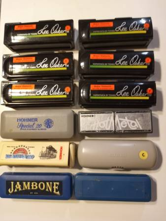Photo Harmonicas Lee Oskar, Hohner, Suzuki, Jambone - set of 12 - $50 (Fairhope)